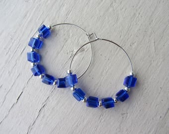 Elegant hoop earrings, Bohemian chic, silver metal with bright blue glass cube beads and small round silver - beads set