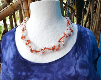 Necklace twisted carnelian beads and rose quartz on stainless steel / woman's stone and willpower / Valentine's day
