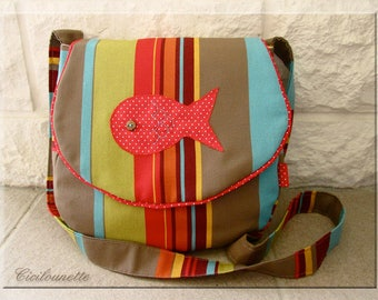Applique red fish with polka dots striped shoulder bag
