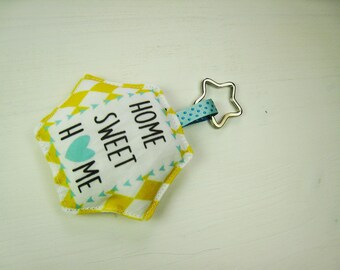 Keychain fabric Pincushion is stuffed with message