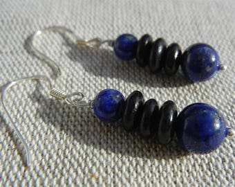 Pierre Lapis-Lazuli and sandal wood earrings