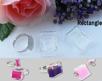 5 glass RECTANGLE 27X17MM bubbles fill cabochon dome globe ball snow + SUPPORT ring