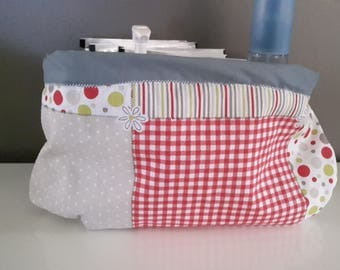 Fabric basket, geometric green, pink, beige / layers/toilet/bathroom product range