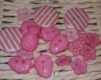 set of 18 beautiful buttons pink embellishments