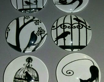 set of 6 cabochon black and white. ...