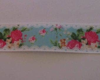 pink 22mm wide flowers grosgrain Ribbon and blue