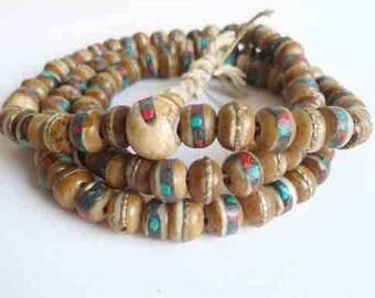 5 beads mala honey for mediation and prayer 8 mm Yak bone