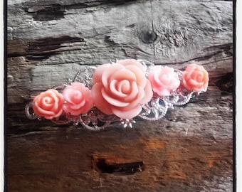 Orange flower hair clip, wedding, vintage wedding hair accessory