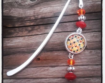 Silver charm bookmark orange/red beads and cabochon