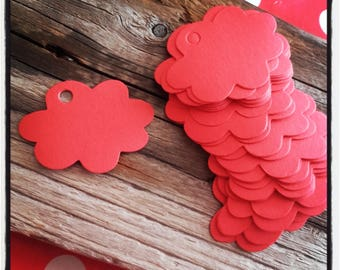 set of 50 red cloud labels