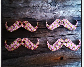 Set of 4 Wood Mustache patterned Diamond Pink 30 mm x 10 mm buttons