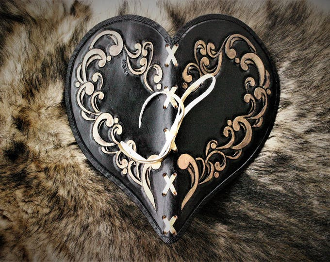 Embossed black leather gold pattern scrolled Victorian Gothic fairy burlesque heart shape gift Valentine's day wedding book guest book