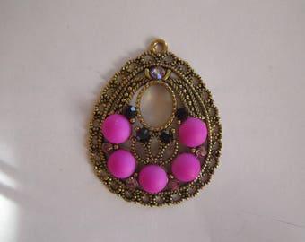 1 pendant drop gold metal and rhinestones