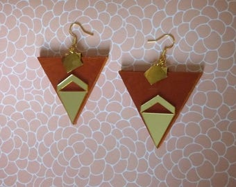 WITH MIRROR GEOMETRIC LEATHER EARRINGS