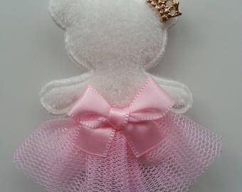 Teddy bear in pink tutu and Crown hair clip