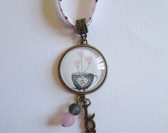 """Little fluffy heart"" necklace setting, costume jewelry"