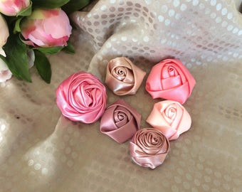 Pink set of six satin flowers