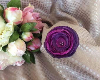 Flower 6.5 cm purple chiffon with pearls