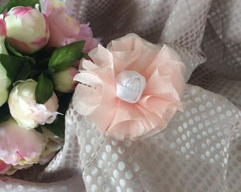 7.5 cm shiny pink and pink organza white satin flower