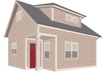 Minimalist Flat Laneway House Illustration