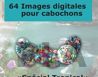 Digital images for cabochons tropical jewelry