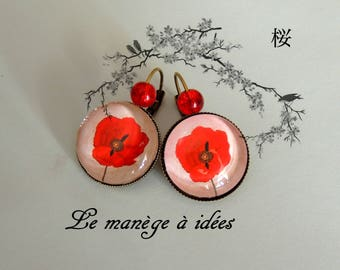 """""""Earrings collection"""" CHIC red """"bronze metal."""
