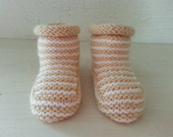 Little feet boots mixed beige & white 3-6 months - booties