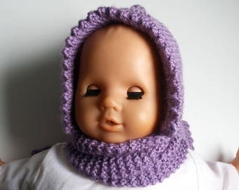 """""""Two in one"""" scarf hat with Lavender. 0-3 months"""