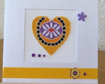 Hand embroidered card: stylized yellow heart
