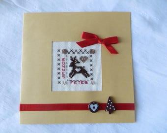 "Hand embroidered greeting card: ""Bonne"" reindeer"