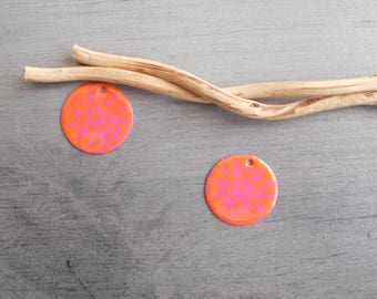 X 2 orange and hot pink sequins (one side pattern and a solid)