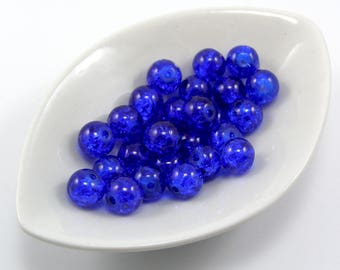 Set of 10 8 mm dark blue color cracked glass beads
