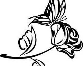 Rose and butterfly decal