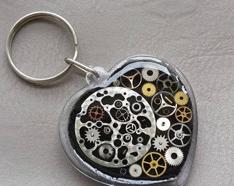 Key shaped heart and watch parts (Steampunk)