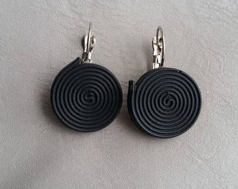 Stud Earrings small 2 cm plastic black licorice