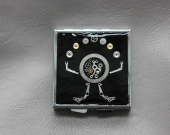 "Pill box or small square box ""The juggler"" Steampunk watch parts and resin"