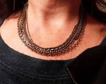 Necklace multi strand chains bronze fantasy, Gabrielle collection