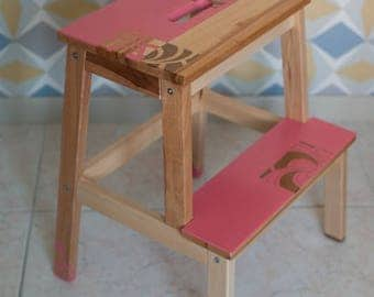 Stool, wooden step: double depending on order