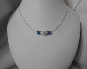"""Azure"" necklace with Pearl & Royal Blue beads"