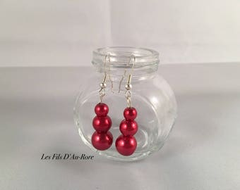 "Earrings ""Thomas"" with 3 Red pearl beads"