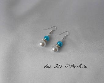 "Earrings ""M"" in turquoise and Pearl White"