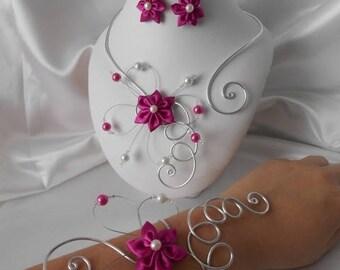 Fuchsia & silver wedding BELLA flower 3 piece necklace, bracelet & earrings set