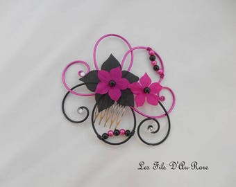 Roman fuchsia & black hair comb
