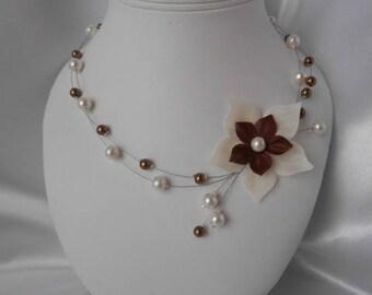 "wedding ivory & chocolate ""SYRRA"" necklace"
