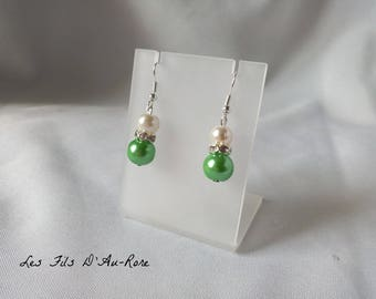 """Earrings """"Blue"""" with Pearl & green beads"""