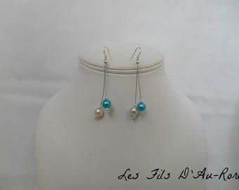 Earrings turquoise and Pearl dangle pierced earrings