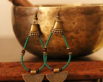 Green ethnic earrings