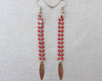 Red Spike, gold sequin chain earrings