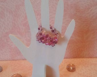 Ring beaded - 2 Rose petals