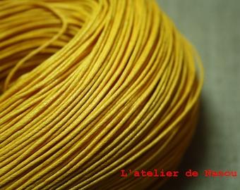 set of 10 m sunshine yellow waxed cotton cord 1 mm